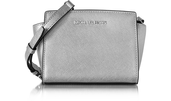 b9e1e56c0437 Michael Kors Selma Silver Saffiano Leather Mini Messenger at FORZIERI