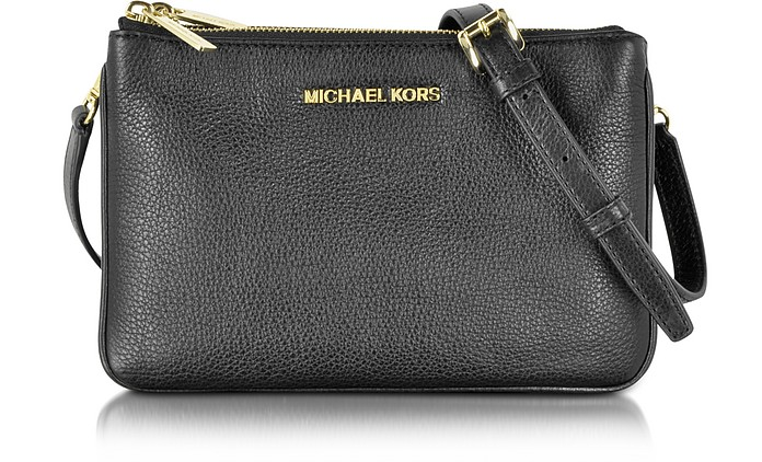 ec4be69e370cba Michael Kors Bedford Black Leather Gusset Crossbody Bag at FORZIERI