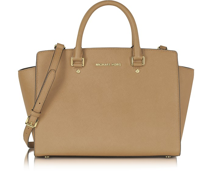 Selma Dark Khaki Saffiano Leather Large Satchel Bag - Michael Kors