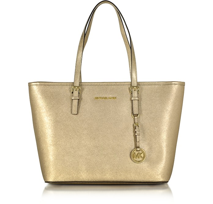 Jet Set Travel Top Zip Metallic Leather Tote - Michael Kors