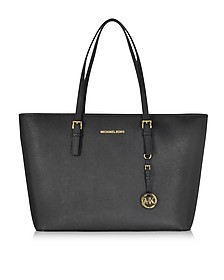 Black Jet Set Travel Saffiano Leather Medium T Z Tote - Michael Kors
