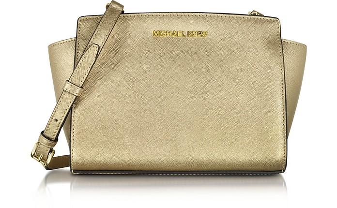 Selma Pale Gold Saffiano Leather Medium Messenger Bag - Michael Kors