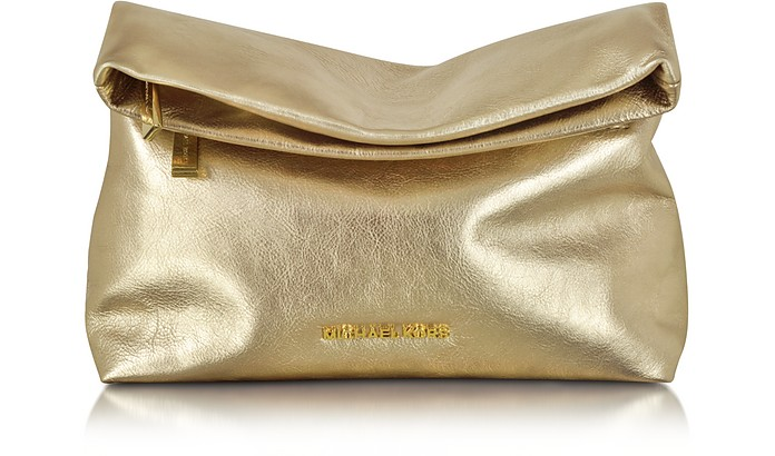 Daria Pale Gold Leather Fold Over Clutch - Michael Kors