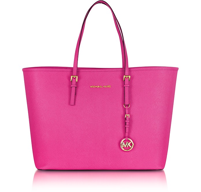 Jet Set Travel Raspberry Saffiano Leather Top-Zip Tote - Michael Kors