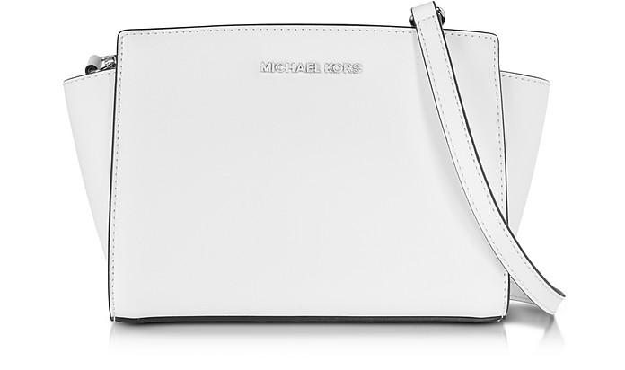 Selma Optic White Saffiano Leather Medium Messenger Bag - Michael Kors