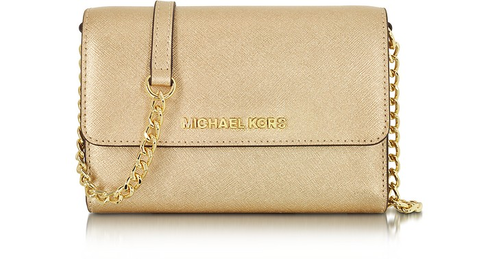 Metallic Saffiano Leather Jet Set Travel Large Smartphone Crossbody - Michael Kors