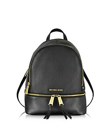 Rhea Zip Medium Zaino in Pelle Nera - Michael Kors