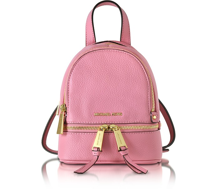 ca33bc6e080b88 Rhea Zip Misty Rose Leather Extra Small Messenger Backpack - Michael Kors