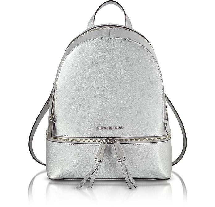 59bfccab8b60 Michael Kors Rhea Zip Silver Medium Backpack at FORZIERI Canada