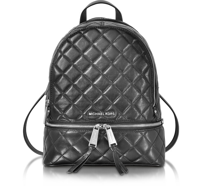 0395e908248c Michael Kors Rhea Zip Black Quilted Leather Medium Backpack at FORZIERI
