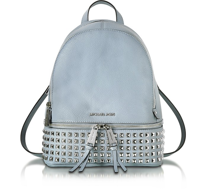 Rhea Zip Dusty Blue Leather Medium Backpack w/ Pyramid Studs - Michael Kors