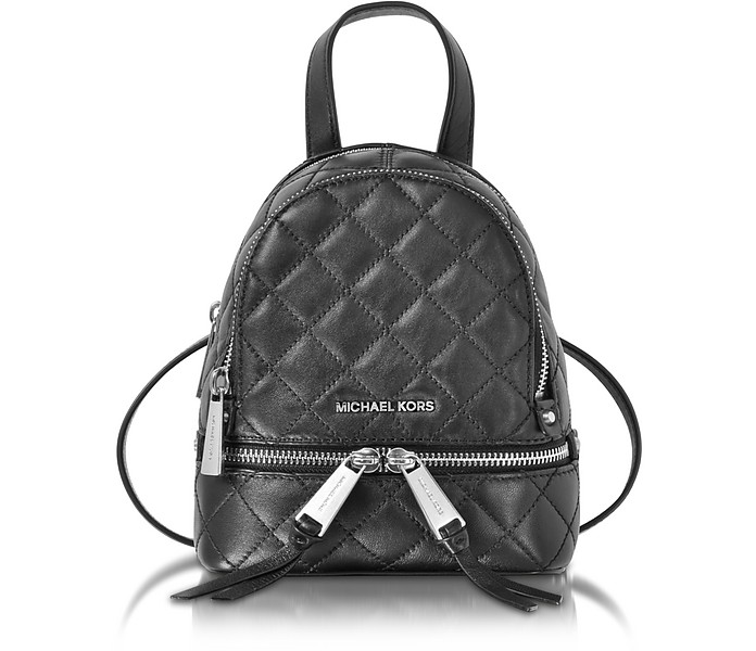 b8dce4e122133 ... new zealand rhea zip x small black quilted leather messenger backpack  michael kors 9635c 7ec46