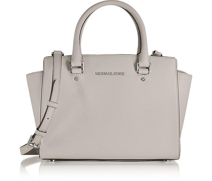 Selma Cement Saffiano Leather Medium Top Zip Satchel Bag