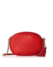 Ginny Bright Red Pebble Leather Medium Messenger  - Michael Kors