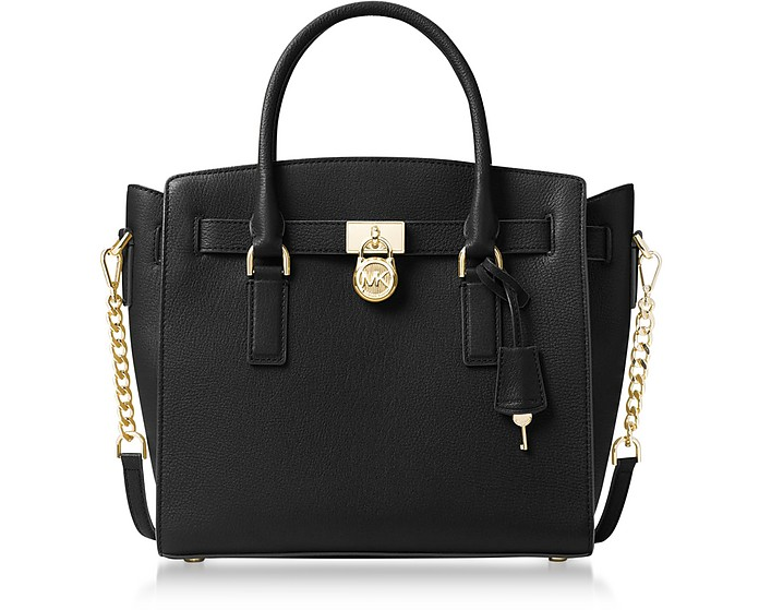 Hamilton Large Black Pebbled Leather Satchel Bag