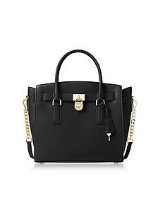 Hamilton Large Black Pebbled Leather Satchel Bag - Michael Kors