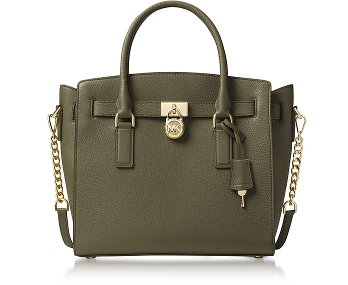 511e965c0920 Michael Kors Hamilton Large Olive Green Pebbled Leather Satchel Bag ...