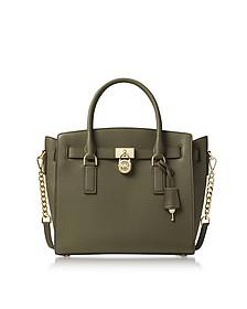 Hamilton Large Olive Green Pebbled Leather Satchel Bag - Michael Kors