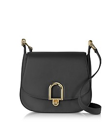 Delfina Large Black Leather Saddle Bag - Michael Kors