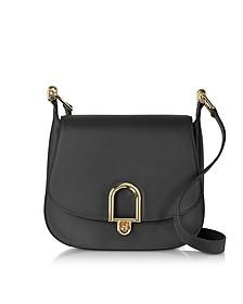 Delfina Large Black Leather Saddle Bag - Michael Kors