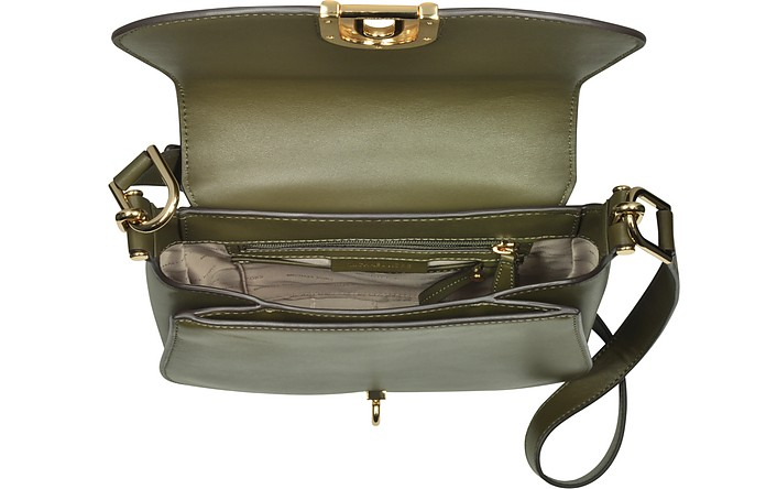 cfd29e80cc27 ... new style delfina large olive green leather saddle bag michael kors. kr  2250 kr 3750