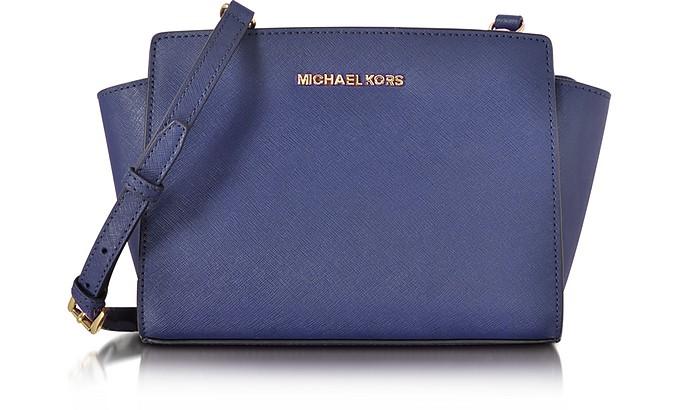 2d013df6de5128 Michael Kors Selma Medium Admiral Blue Saffiano Leather Messenger Bag
