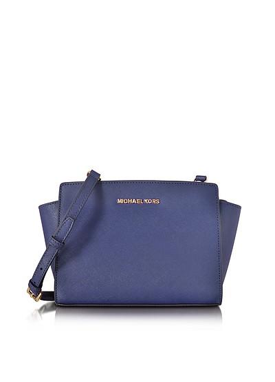 Selma Medium Admiral Blue Saffiano Leather Messenger Bag - Michael Kors