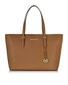 Jet Set Travel Medium Luggage Saffiano Leather Top-Zip Tote - Michael Kors