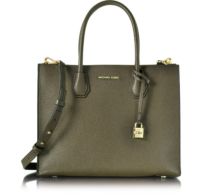 f57321e16a62 Mercer Large Convertible Olive Green Bonded-Leather Tote - Michael Kors