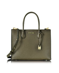 Mercer Large Convertible Shopping Bag in Pelle Martellata Olive - Michael Kors