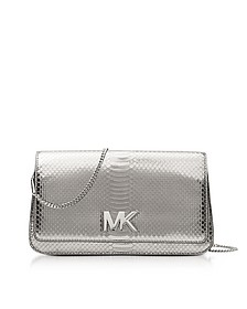 Mott Large Silver Metallic Ayers Embossed Leather Clutch - Michael Kors