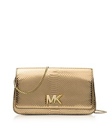Mott Large Pale Gold Metallic Ayers Embossed Leather Clutch - Michael Kors