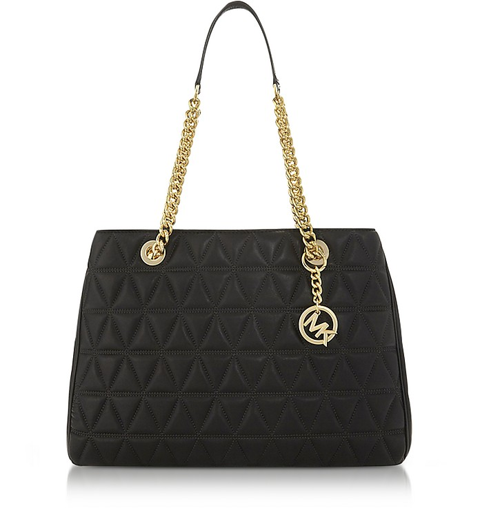 Scarlett Large Black Quilted Leather Tote Bag - Michael Kors