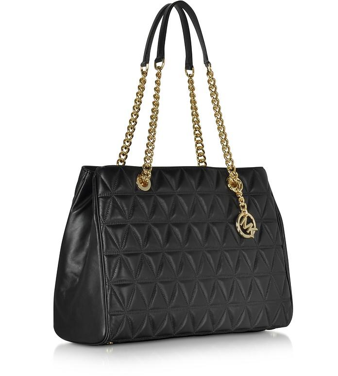 Michael Kors Scarlett Large Black Quilted Leather Tote Bag at FORZIERI : michael kors black quilted handbag - Adamdwight.com
