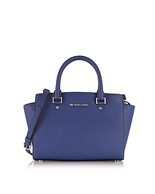 Selma Medium Admiral Saffiano Leather Top-Zip Satchel  - Michael Kors