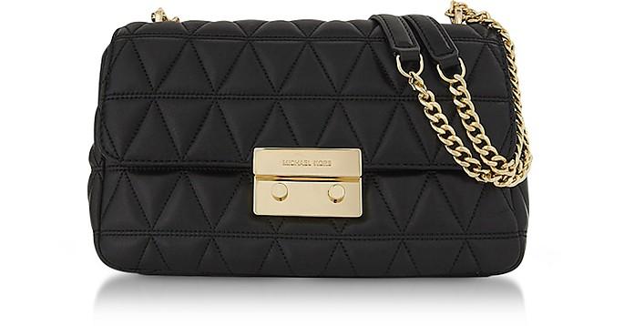 Sloan Large Black Quilted Patent Leather Chain Shoulder Bag - Michael Kors