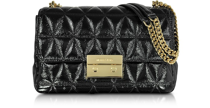 f8e168b33b92b Sloan Large Black Quilted Patent Leather Chain Shoulder Bag - Michael Kors