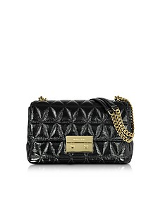 Sloan Large Black Quilted Patent Leather Chain Shoulder Bag - Michael Kors