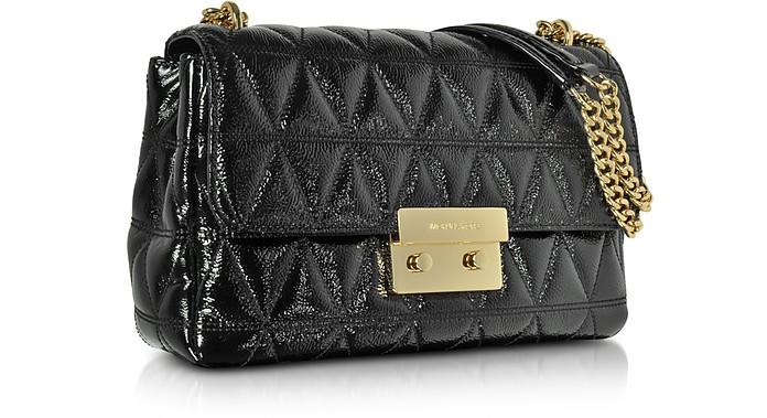 3725b921effcb Sloan Large Black Quilted Patent Leather Chain Shoulder Bag - Michael Kors.  Sold Out