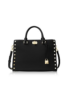 Sylvie Stud Large Black Leather Satchel Bag - Michael Kors