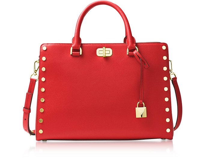 Sylvie Stud Large Bright Red Leather Satchel Bag - Michael Kors