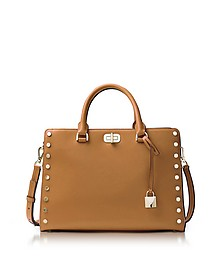 Sylvie Stud Large Acorn Leather Satchel Bag - Michael Kors