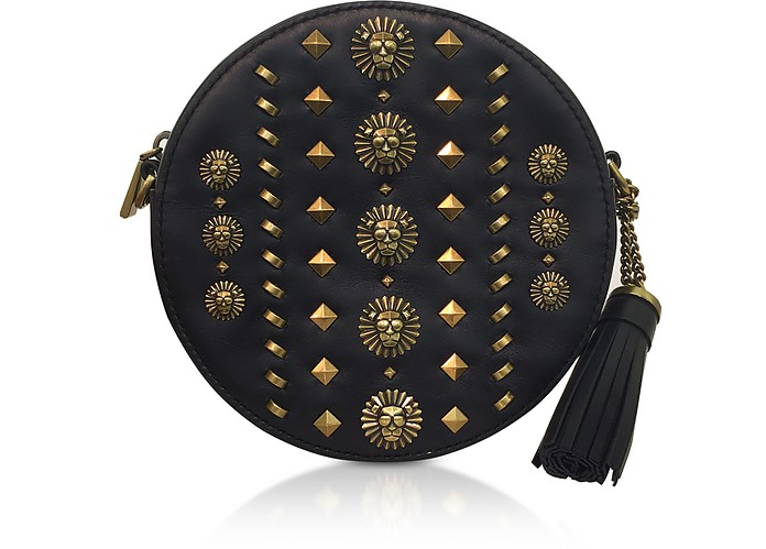 Black Studded Polished Leather Canteen Crossbody - Michael Kors