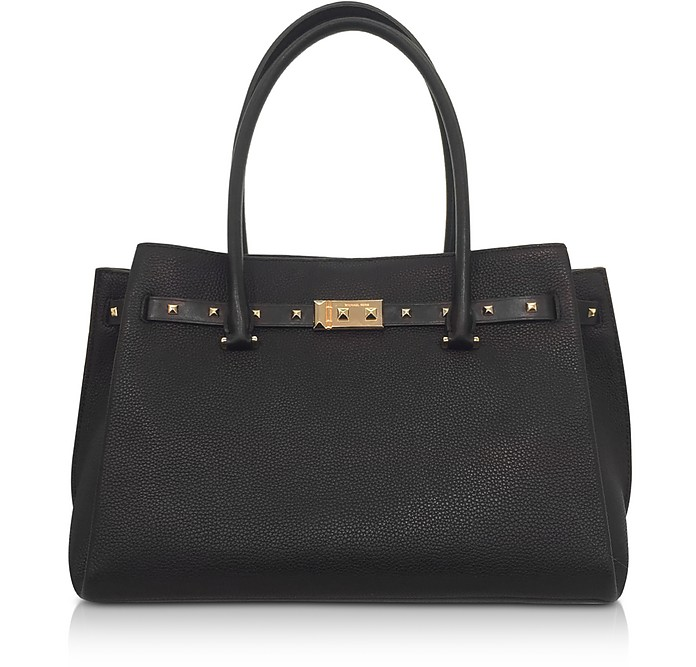 Black Pebbled Leather Large Addison Tote Bag, Black/Gold