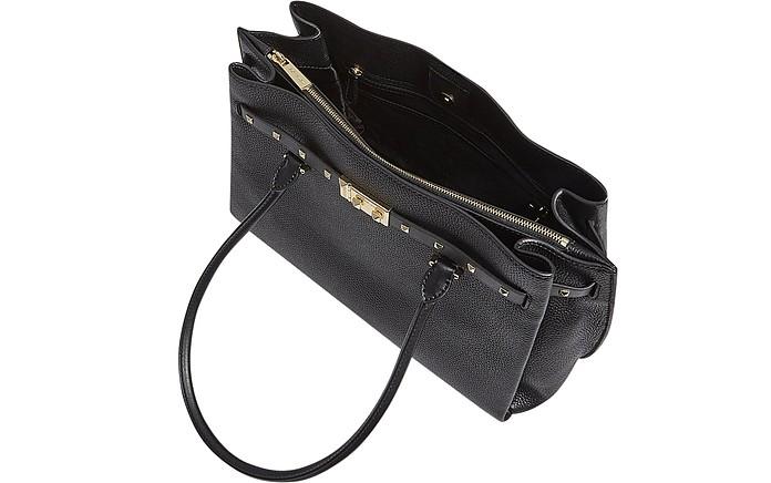1fb714cf8eee80 Michael Kors Black Pebbled Leather Large Addison Tote Bag at FORZIERI UK