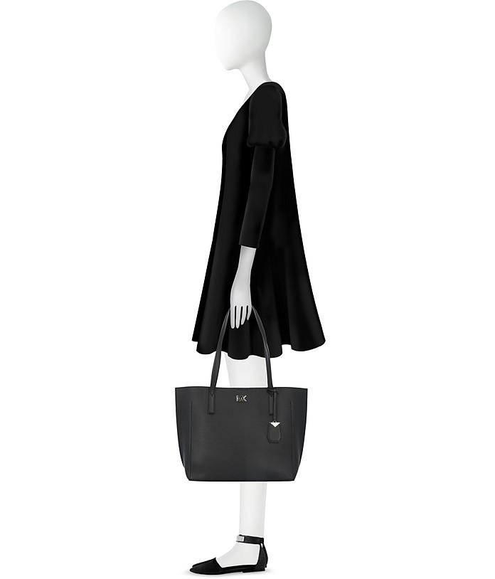 9a5821c2475b Michael Kors Black Pebbled Leather Ana Medium EW Bonded Tote Bag at ...
