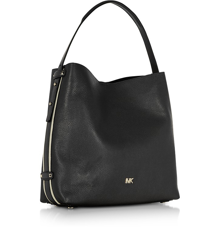 6552a3d099 Michael Kors Black Griffin Large Leather Shoulder Bag at FORZIERI ...