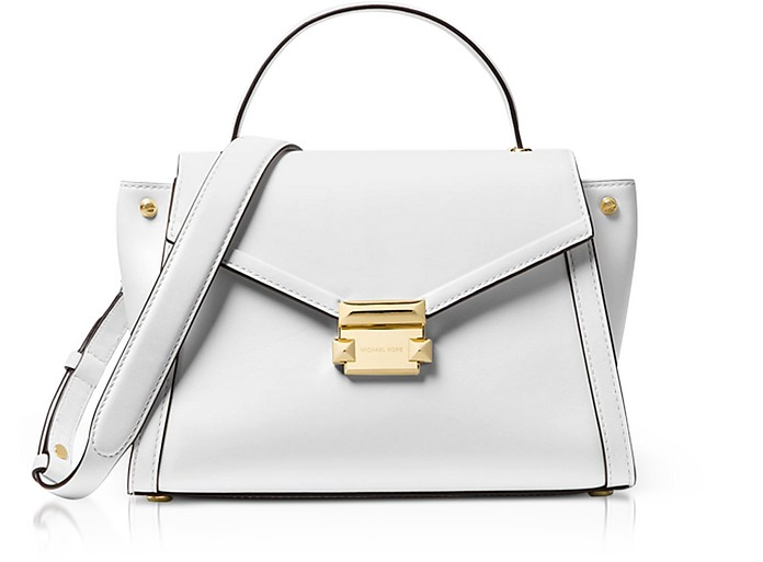 Michael Kors optic white Whitney Medium Leather Satchel at FORZIERI ... bd2085876d1ba