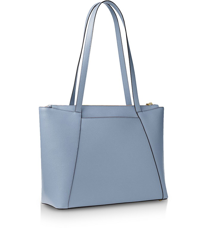 191a13c81b56 Michael Kors Pale Blue Maddie Medium Crossgrain Leather Tote at ...