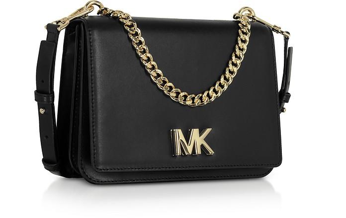 63e597f385f92 Michael Kors Black Mott Leather Crossbody Bag at FORZIERI